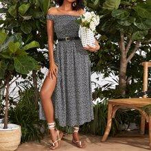 Ditsy Floral Shirred Bodice Split Dress Without Belt