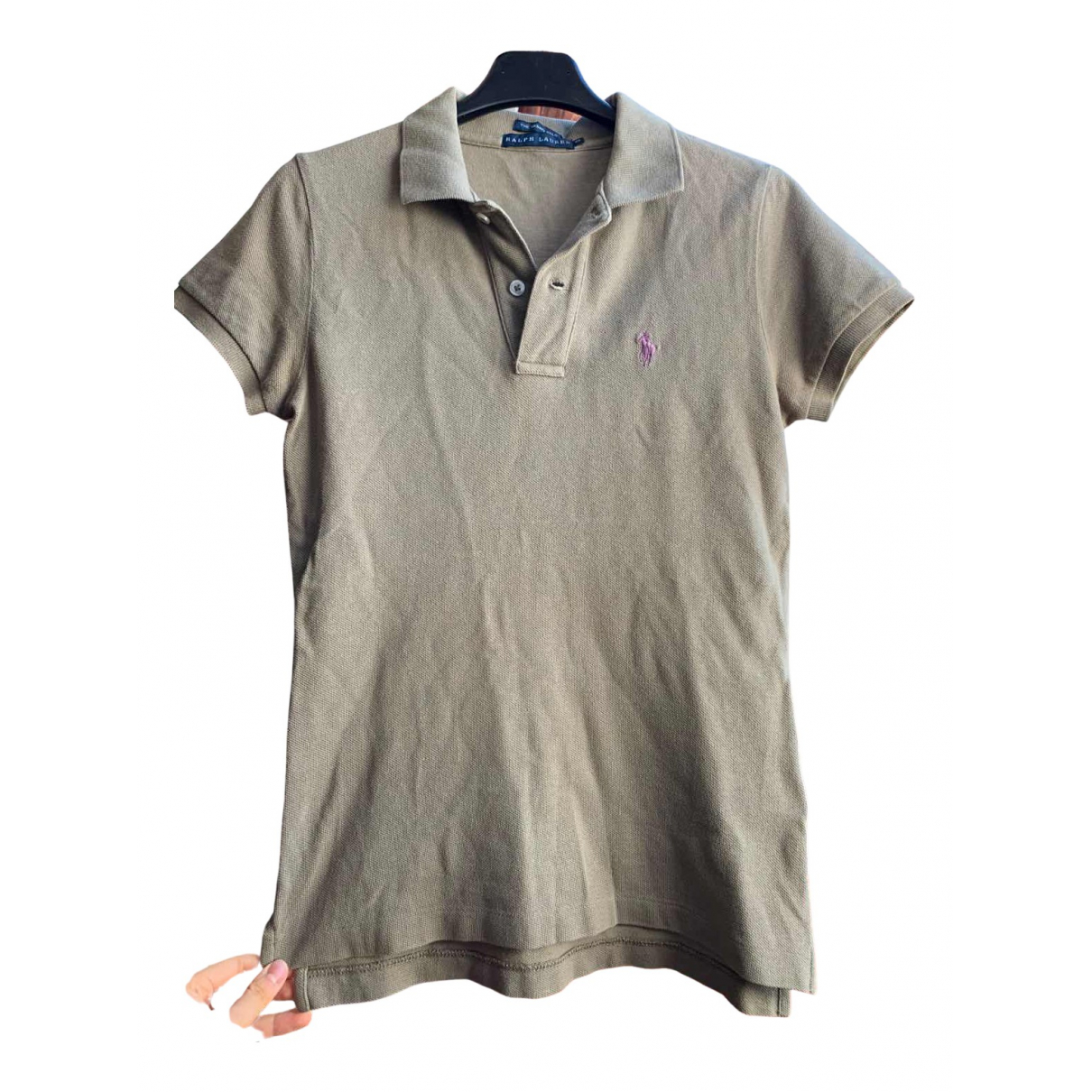 Polo Ralph Lauren Polo cintré manches courtes Khaki Cotton  top for Women 36 IT