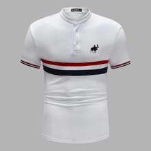 Men Graphic Print Striped Polo Shirt
