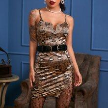 Snakeskin Split Hem Bodycon Dress Without Belt