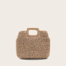 Braided Tote Bag With Wooden Handle
