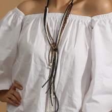 Halskette mit Kunstperlen & Kristall Dekor