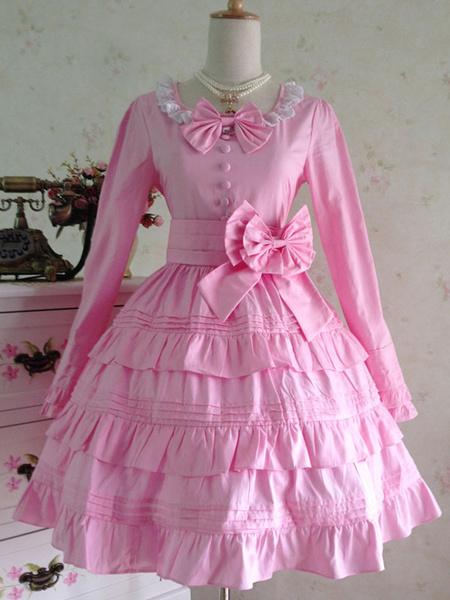 Milanoo Classic Lolita Dress Red Lolita Dress OP Cotton Long Sleeve Ruffle Tiered Lolita One Piece Dress