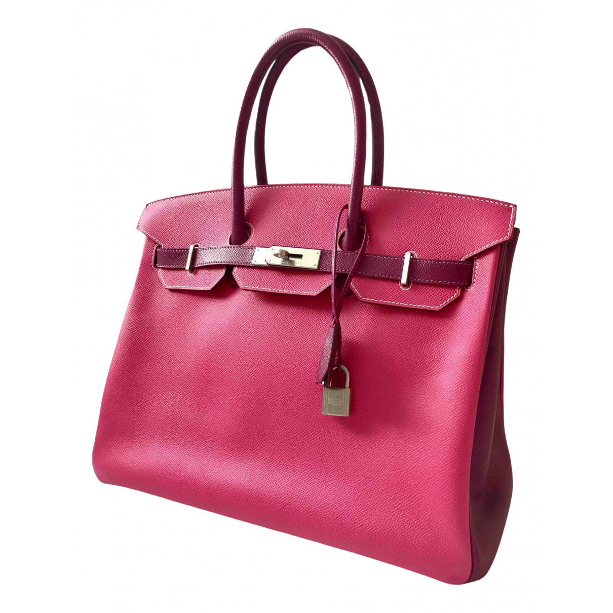 Hermes - Sac a main Birkin 35 pour femme en cuir - rose