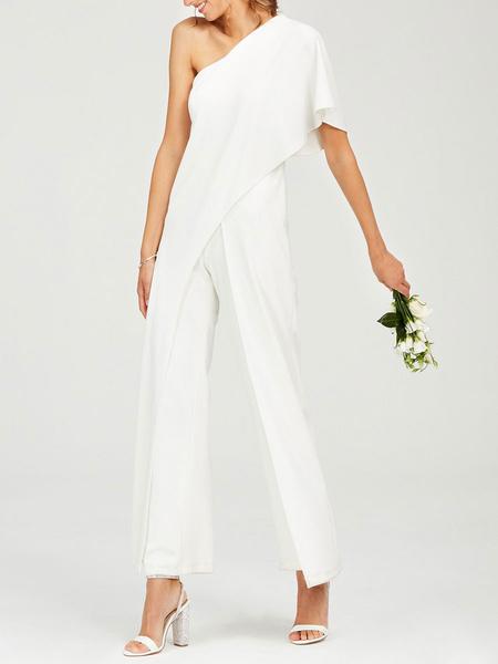 Milanoo Vestidos de novia sencillos Marfil con escote a un solo hombro Vestidos de novia Boda cintura natural de elastano de marca LYCRA
