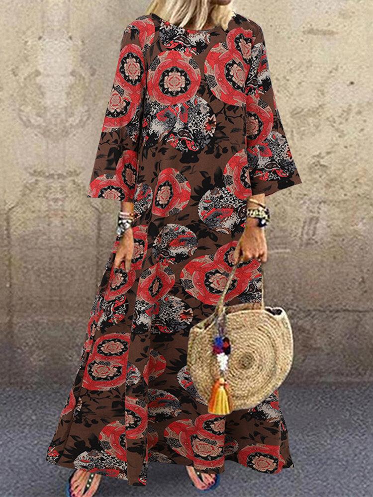 Vintage Ethnic Print A-line Plus Size Dress
