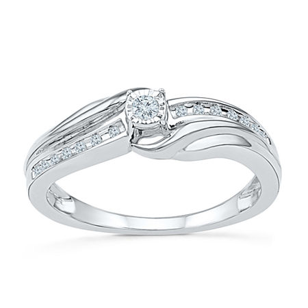 Promise My Love Womens 1/8 CT. T.W. Genuine White Diamond Sterling Silver Promise Ring, 6 , No Color Family