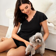 Maternity Top mit Revers Kragen und gekraeuseltem Saum & Shorts Set