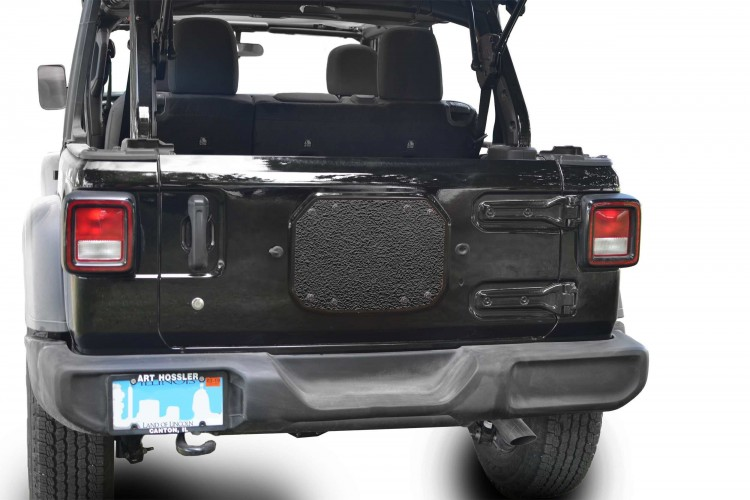Steinjager J0048220 Spare Tire Carrier Delete Plate Wrangler JL 2018 to Present Texturized Black