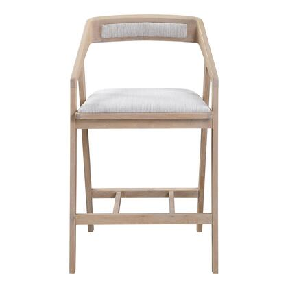Padma Collection BC-1092-29 Counter Height Stool with Solid White Oak Frame in Gray