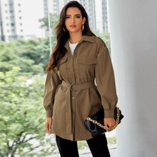 Single Breasted Flap Pocket Front D-ring Belted Coat
