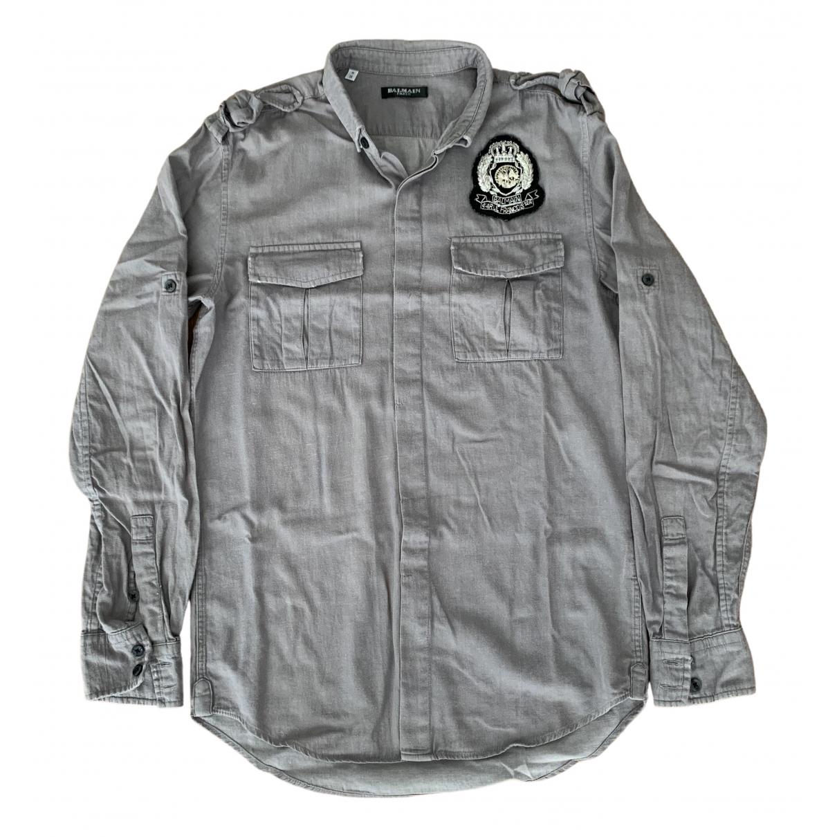 Balmain \N Grey Cotton Shirts for Men 38 EU (tour de cou / collar)