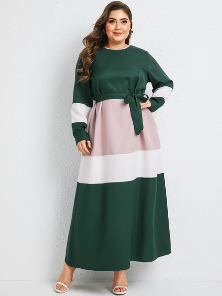 Yoins Plus Size Multicolor Belt Design Round Neck Long Sleeves Dress