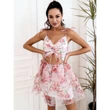 HouseOfChic vestido de tirantes con estampado floral bajo a capas