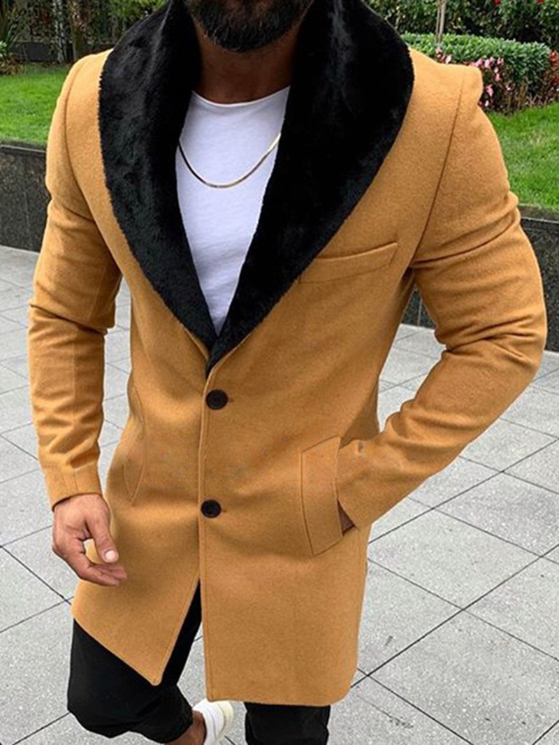 Ericdress Plain Color Mid-Length Style Casual Mens Coat