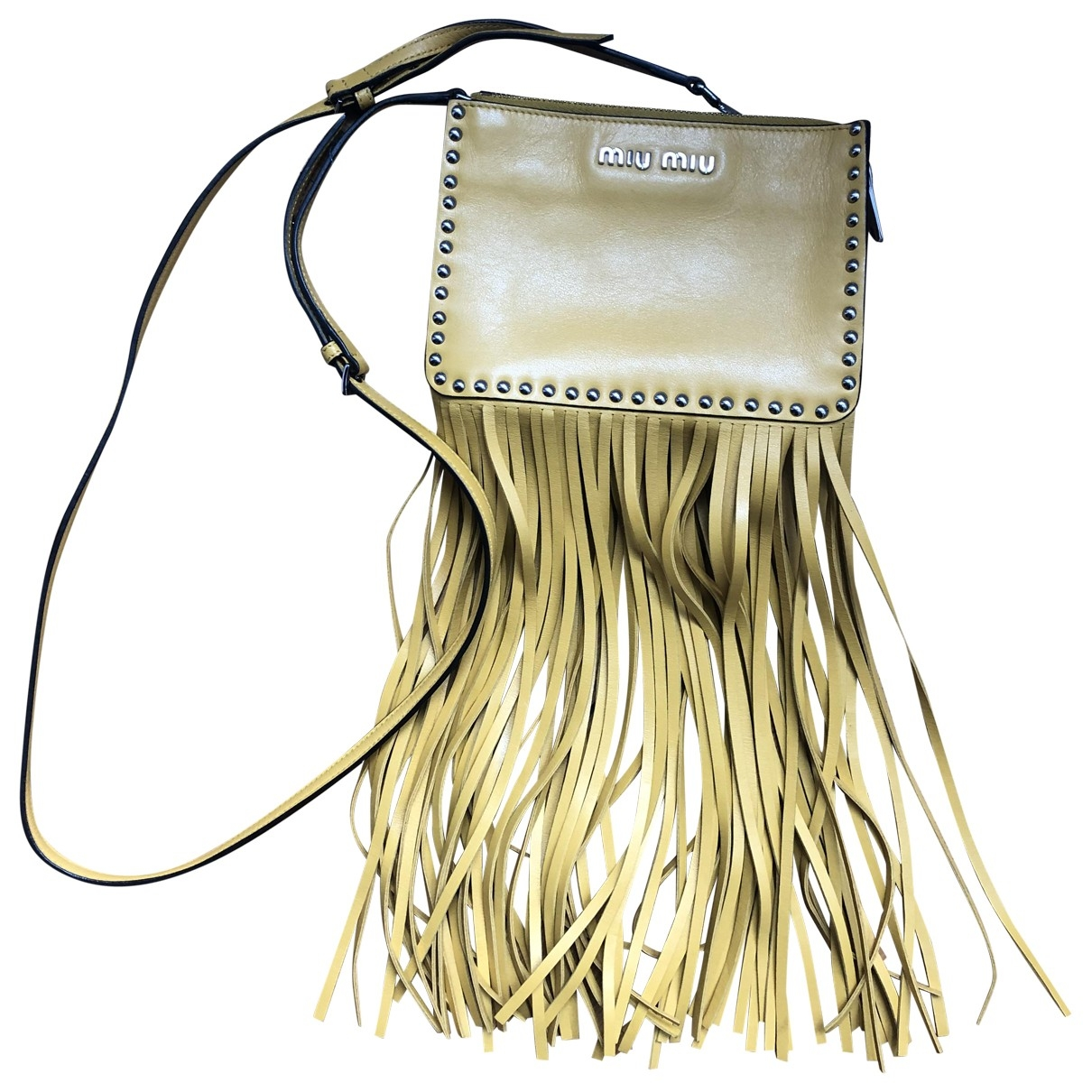 Miu Miu Bow bag Yellow Leather handbag for Women \N