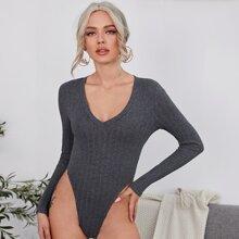 V-Neck Rib-knit Bodysuit