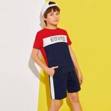 Boys Slogan Graphic Colorblock Top & Contrast Side Seam Track Shorts Set