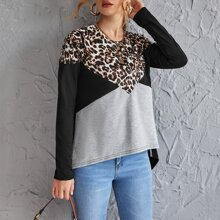 Colorblock Leopard High Low Tee