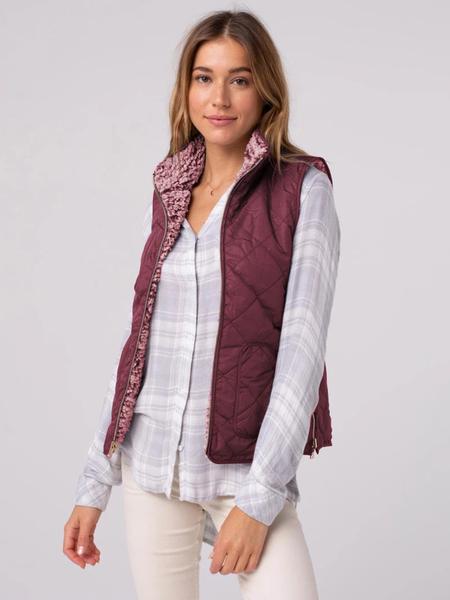 Yoins Burgundy Zip Design Teddy Waistcoat