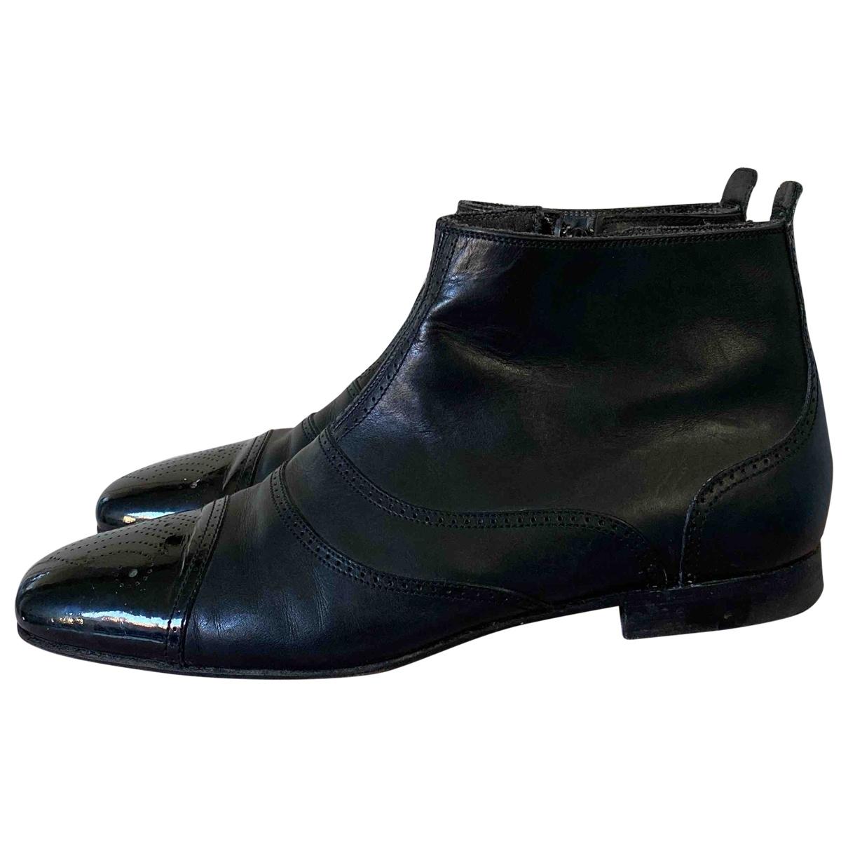 Bottega Veneta - Bottes.Boots   pour homme en cuir - noir
