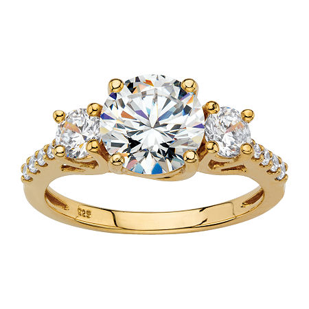 DiamonArt Womens 2 1/2 CT. T.W. White Cubic Zirconia 18K Gold Over Silver Round Engagement Ring, 6 , No Color Family