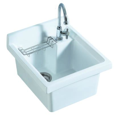 WH474-53 Vitreous China single bowl  drop-in sink with wire basket and 3    inch off center