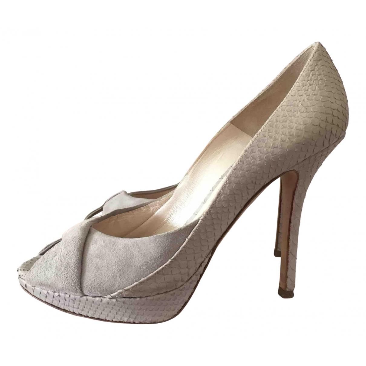 Dior N Grey Leather Heels for Women 37 IT