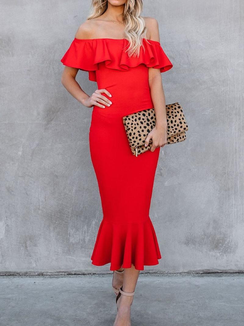 Ericdress Off Shoulder Mid-Calf Short Sleeve Mid Waist Pullover Dress