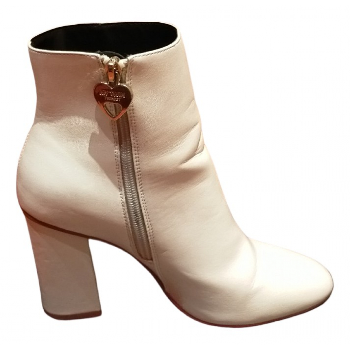 Twin Set - Boots   pour femme en cuir - blanc