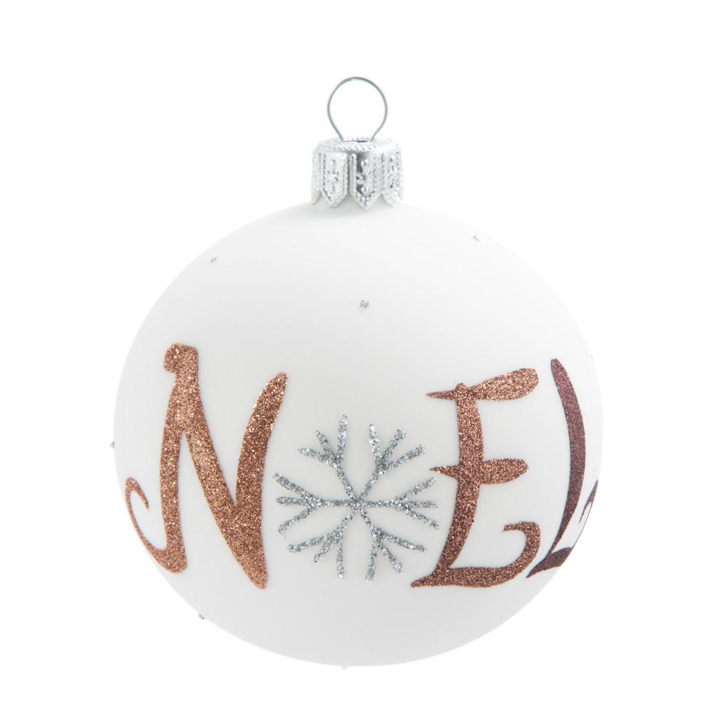Weihnachtskugel aus Glas, weiss mit Druckmotiv