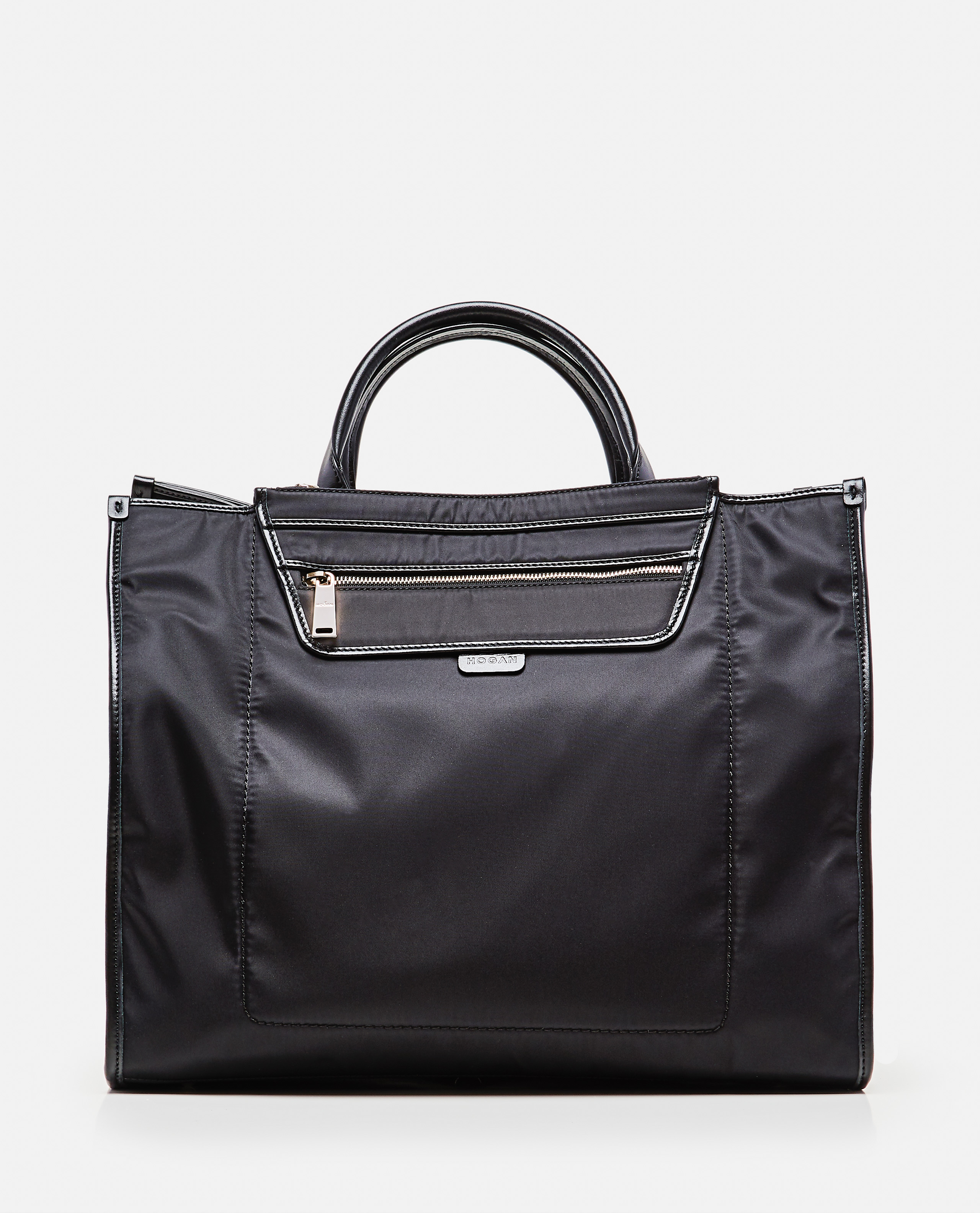 Tote bag with contrasting finishes