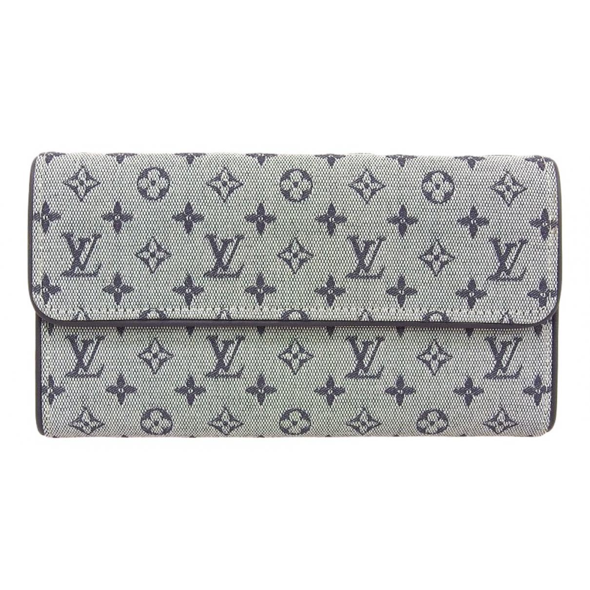 Louis Vuitton \N Portemonnaie in  Blau Leinen