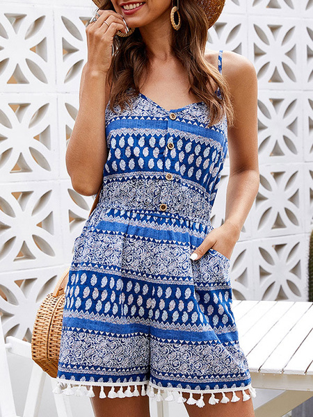 Milanoo Blue Geometric V-Neck Sleeveless Fringe Stretch Polyester Straight Summer Playsuit