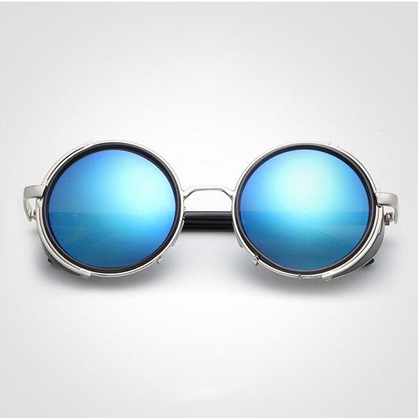 Women Men Retro Steam Punk Round UV Protection Sunglasses Casual Travel Sunscreen Eyeglasses