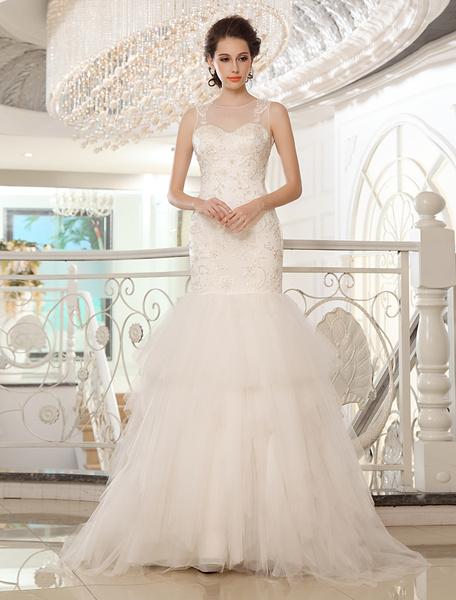 Milanoo Vestido de novia de tul de color marfil con escote redondo de estilo atractivo