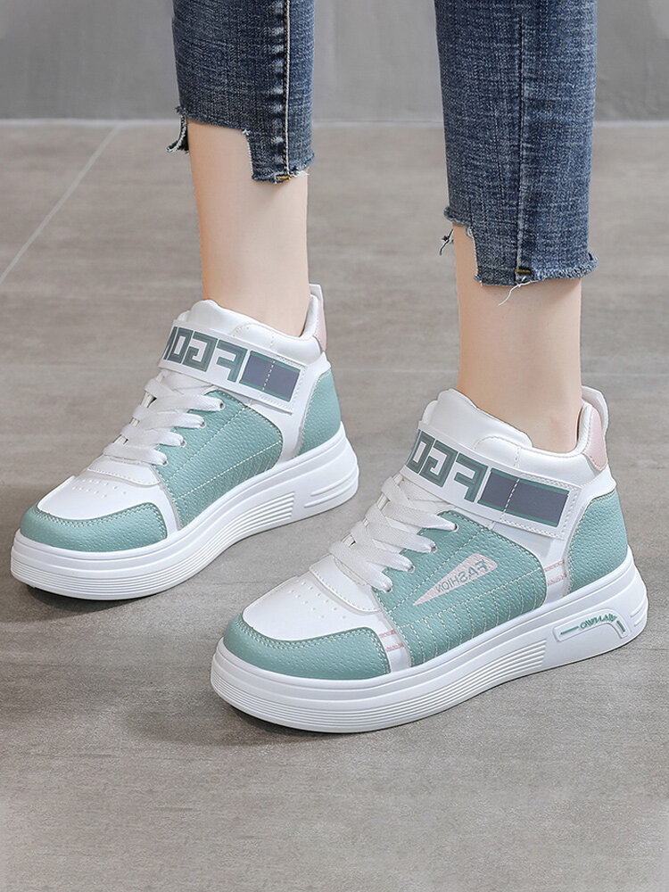 Women Casual Splicing High Top Thick Sole Lace Up Court Sneakers