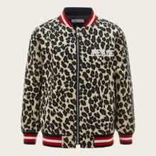Boys Letter Graphic Leopard Bomber Jacket