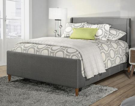 Denmark Collection 2127BKR King Size Bed with Headboard  Footboard  Rails  Fabric Upholstery  Tapered Wood Legs and Stitched Detailing in Linen