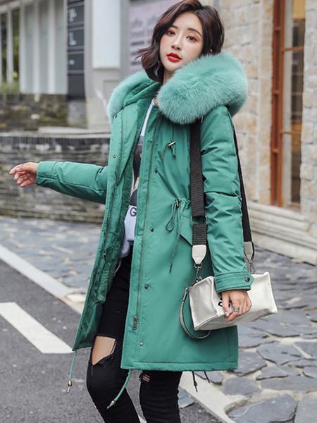 Milanoo Abrigos acolchados para mujer Abrigo parka de manga larga con cremallera y cordon a prueba de viento blanco crudo