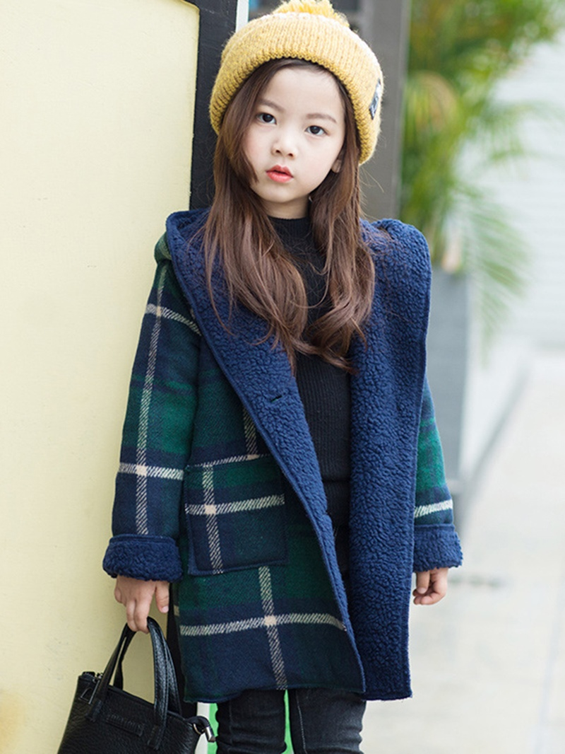 Ericdress Plaid Hooded Girl's Lambs Wool Coat