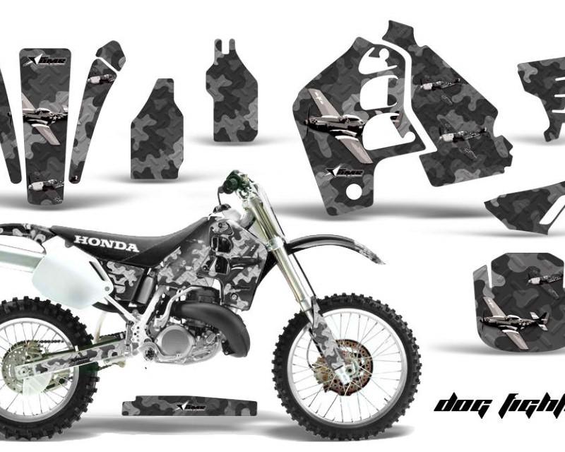 AMR Racing Dirt Bike Graphics Kit MX Decal Wrap For Honda CR500 CR 500 1989-2001áDOGFIGHT BLACK
