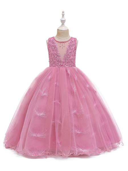 Milanoo Flower Girl Dresses Jewel Neck Polyester Sleeveless Ankle-Length Ball Gown Bows Formal Kids Pageant Dresses
