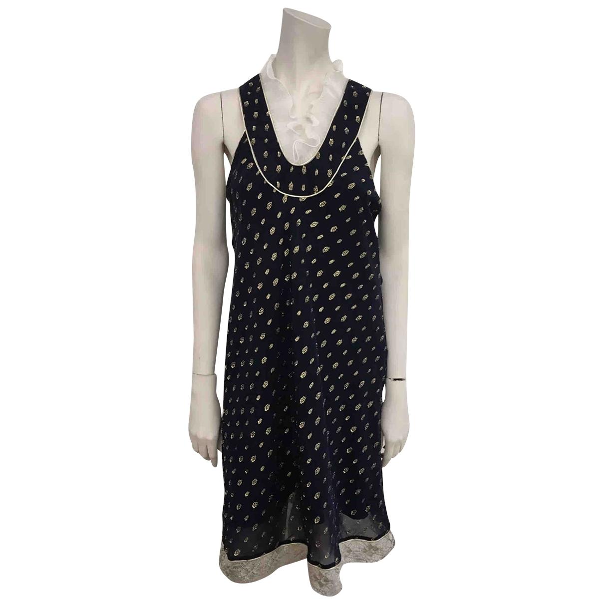 Non Signe / Unsigned \N Kleid in  Marine Mit Pailletten