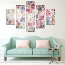 5 piezas pintura de pared con estampado de flor sin marco