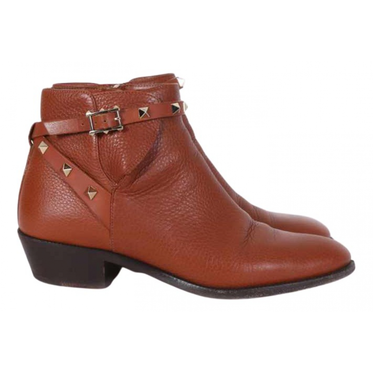 Valentino Garavani Rockstud Brown Leather Ankle boots for Women 39 EU