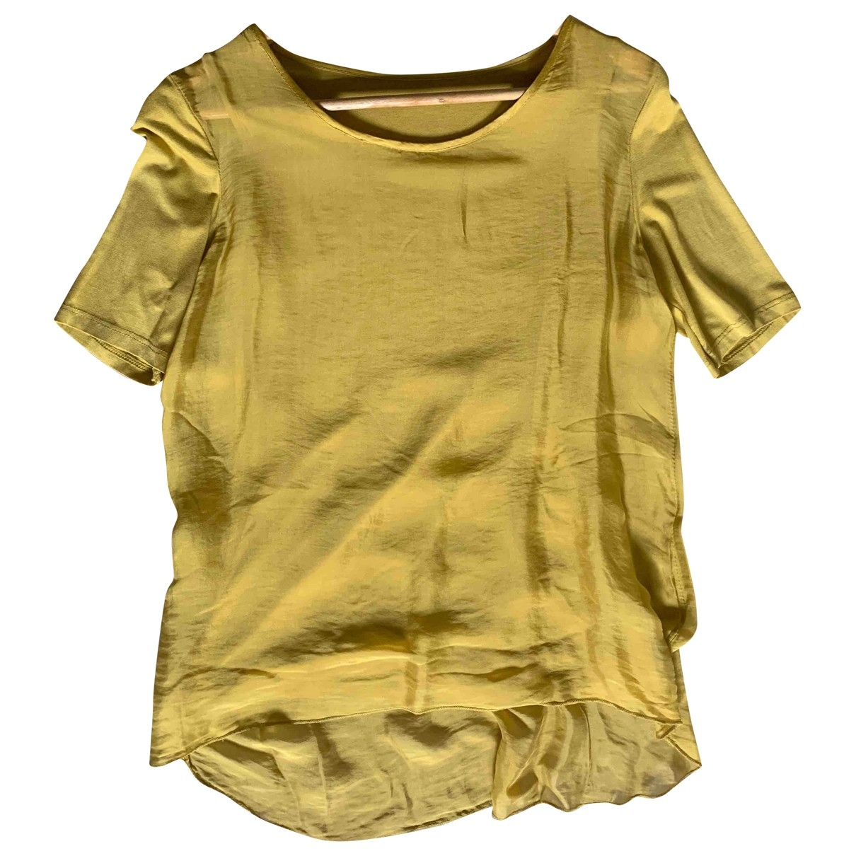 Non Signé / Unsigned \N Gold Silk  top for Women One Size International