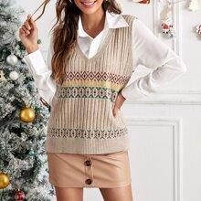 Argyle Pattern Sweater Vest Without Blouse
