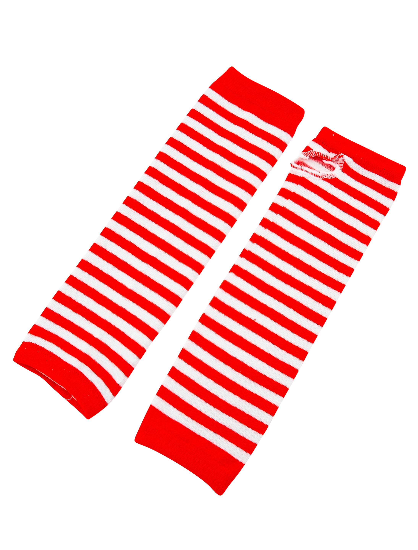 Kostuemzubehor Armstulpen rot/weiss gestreift