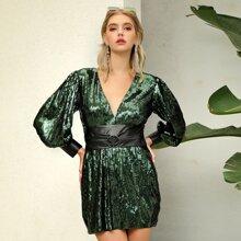 D&M Open Back Lantern Sleeve Belted Sequin Dress